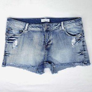 Rue 21 Denim Shorts Light Wash Short Stretch Mid
